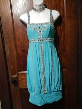 SUE WONG NOCTURNE turquoise sequined silk dress beaded Gatsby art deco 0 XS 2E