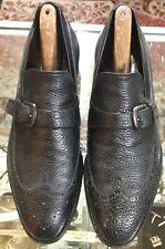 Vtg E.T. Wright Pebble Grain Black Leather Taut Topper Wingtip Shoes SZ 10A