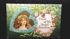 Vintage Valentine Post Card To My Valentine Think Of Me Sweet Valentine No 2020