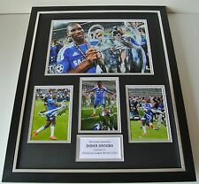 Didier Drogba SIGNED FRAMED Photo Autograph Huge display Chelsea Football & COA