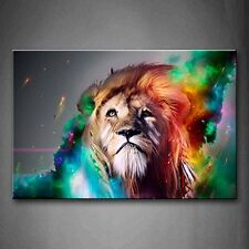 Colorful Lion Wall Art Painting Canvas Picture Print Animal Wood Framed Decor