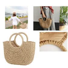 Retro Wicker Women Handbag Bags Totes Summer Beach Straw Woven Rattan Basket Bag