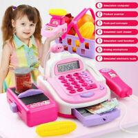 Kids Funny Mic Sound Simulation Cash Register Pretend Cashier Play Toy Set Pink