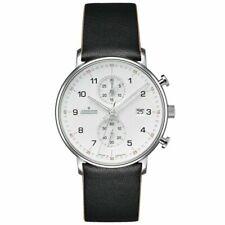 Junghans 041/4771.00 Form C Quartz Chronograph Black Leather Strap Watch