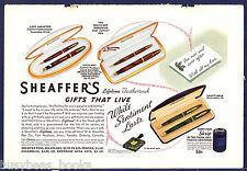 1941 SHEAFFER PENS advertisement, pen & pencil sets, color art