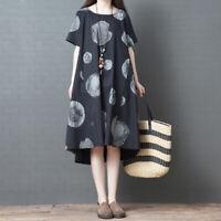 Summer Retro Cotton Linen Women Casual Loose A Line Boho Maxi Tunic Dress Plus