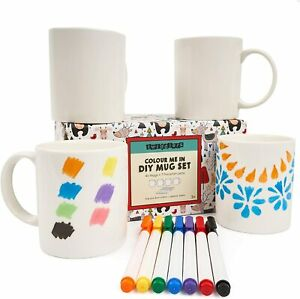 4 x Paint Your Own Mug Arts & Crafts DIY Design Your Own Crafts Kids Loot