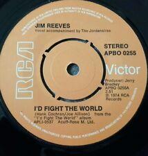"JIM REEVES - I'D FIGHT THE WORLD -  7"" Vinyl 45 RPM RCA APBO 0255 ORANGE LABEL"