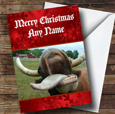 Funny Crazy Mad Cow Personalised Christmas Greetings Card