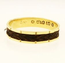 Antique 9Carat Horse Hair Mourning Band (Size P 1/2) 4mm Wide
