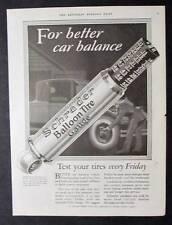 Original 1926 Schrader Tire Gauge Ad 10 x 13.5 FOR BETTER CAR BALANCE