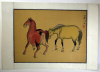 """15"""" Antique Chinese Asian Signed Watercolor on Silk Playful Horses Stallions"""