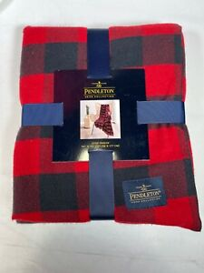 Pendleton Home Collection Luxe Red Blue Throw Blanket 50 X 70 Rob Roy Red New