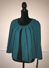 Madison Leigh Woman Plus Size 18W Open Cardigan Blazer 3/4 Sleeve Teal Black New