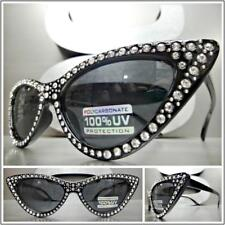 Classy Retro Cat Eye Style SUN GLASSES Black Frame Sparkling Bling Rhinestones