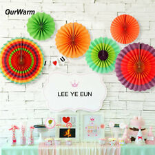 12×Mexican Party Hanging Paper Fans Fiesta Carnival Hawaiian Party Wall Supply
