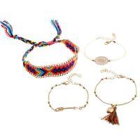 4Pcs/set Women Ethnic Boho Multilayer Beads Arrow Tassel Bracelet Bangle Jewelry
