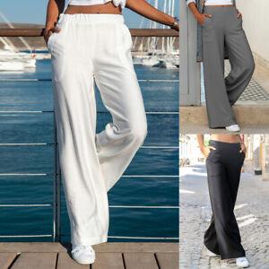 Summer Women Cotton Linen Wide Leg Trouser Elastic High Waist Loose Pants Casual