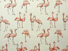 FLAMINGO LINEN ANIMAL AFRICAN COTTON MIX CREAM CURTAIN LIGHT UPHOLSTERY FABRIC