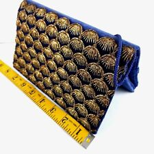 Vintage Zardozi Clutch Purse Blue Gold Velvet Embroidery Pakistan Zari 50s/60s