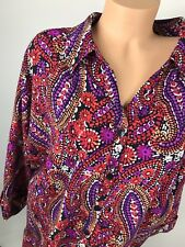 CATHERINES 3X 4X 5X Button Down Shirt Blouse Top Black Purple Red Paisley z