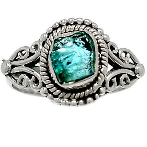 Handwork - Aquamarine Rough - Stone Of Courage 925 Silver Ring s.7 BR97482