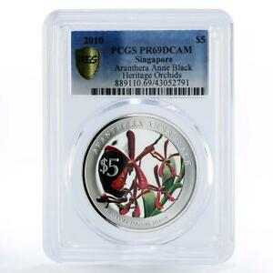 Singapore 5 dollars Aranthera Anne Black Orchid PR69 PCGS silver coin 2010