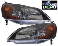 2001-2003 Honda Civic 2D Coupe OE Style Black Head Light DEPO PAIR