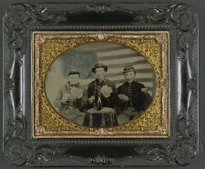 Photo Civil War Union Soldiers Playing Cards Smoking Drinking American Flag
