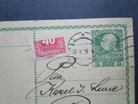 Austria SC# J55 Bisect on 1919 Postal Card to Prag - Z7228