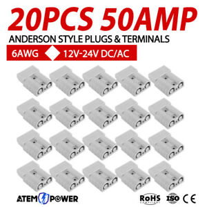 20 x Anderson Style Plug Connectors 50 AMP 12-24V 6AWG DC Power Tool