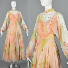 XS Vintage 1970s 70s Silk Maxi Dress Formal Chiffon Gown Couture Poet Sleeve