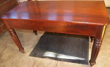 Large Antique Empire Solid Mahogany Game Card Table 1840-50 dining reeded leg