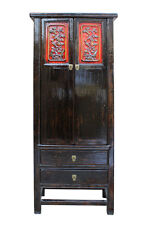 Chinese Distressed Black Red Floral Motif Tall Slim Storage Cabinet cs2249