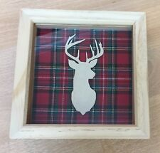 Stags Head In Deep Box Frame With Tartan Fabric Background
