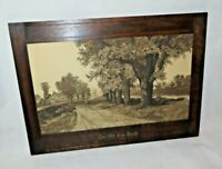 "Ernest C. Ross ""Old Elm Road"" Black & White Etching Print in Custom Wood Frame"