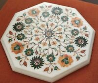 """12"""" Marble corner coffee side Table Top floral precious stone inlaid  home Decor"""