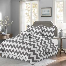 Gray 10 Piece Bed In a Bag Chevron Comforter Set - Sheet Set Included -