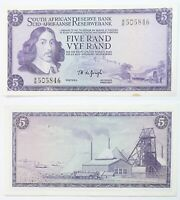 South Africa AU Banknote 5 Rand Series ND 1978-1994 SN:505846 Apartheid Currency