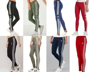 Adidas Original Women Ladies 3 Stripe Trefoil Leggings Gym New Size 8 12 16 20