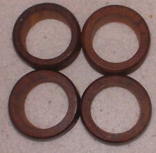 4 Ribbed Wooden Napkin Ring Holders