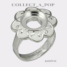 Authentic Kameleon Silver White Enamel Flower Ring Size 8 KR009W#8  RETIRED