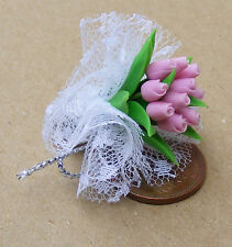 1:12 Scale Bouquet Of Pink Tulips Tumdee Dolls House Miniature Flower Accessory