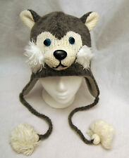 e259cd37dba SIBERIAN HUSKY HAT huskies ADULT knit LINED deLux dog costume sled animal  CAP