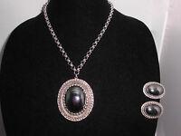 VTG Whiting & Davis Signed Hematite Faceted Demi Parure Necklace & Earrings Set