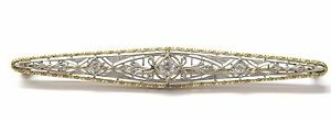 Fine VINTAGE Old European Cut Diamond Pin/Brooch 14KT .20CT
