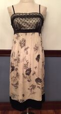 6 Laundry by Shelly Segal 100% Silk Cream and Black Lace Dress