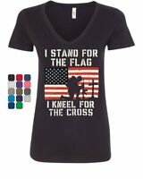 I Stand for the Flag I Kneel for the Cross Women's V-Neck T-Shirt Tee