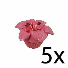 Lip Balm Flower Scented Floral Gloss Moisturising Nourishing Pot Pink Lily x5