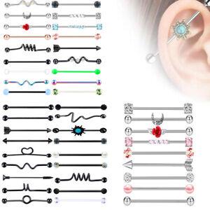 Stainless Steel Industrial Barbell Earring Stud Cartilage Body Piercing Jewelry